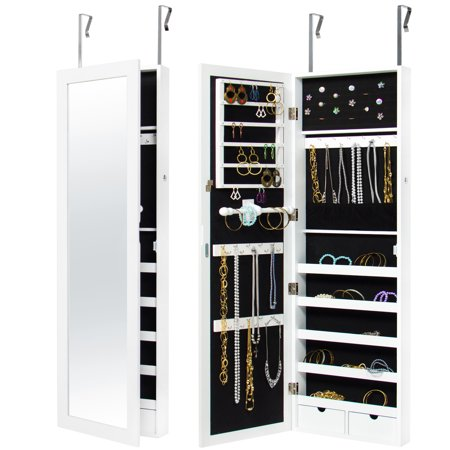 Best Choice Products Mirrored Hanging Jewelry Cabinet Armoire Organizer Over Door Wall Mount W/ Keys- White (White Mirrored Jewelry Armoire)