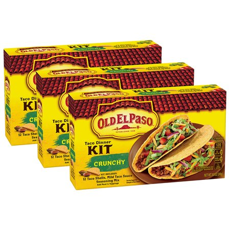 (3 Pack) Old El Paso Taco Dinner Kit, 8.8 oz Box