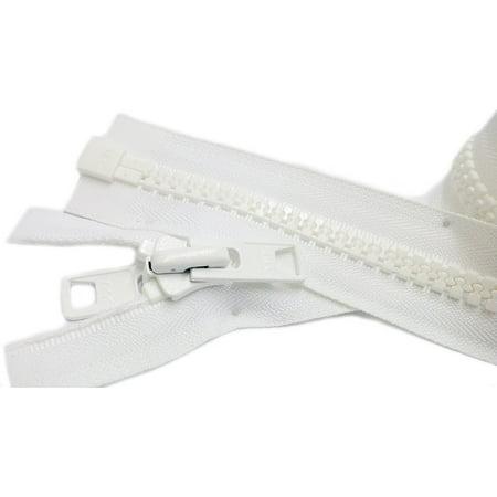 ZipperStop Wholesale Authorized Distributor YKK® Bimini Boat,Tent,Canvas Top, Sleeping Bag #10 White Marine Double Pull Reversible Zipper 34