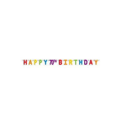 Pack of 12 Colorful Jointed Happy 70th Birthday Banner Hanging Party Decorations 66