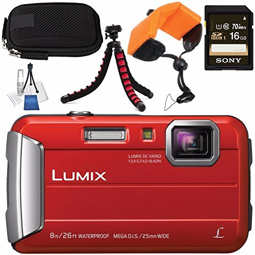 Panasonic Lumix DMC-TS30 Digital Camera (Red) DMCTS30R + Sony 16GB SDHC Card + Small Carrying Case + Waterproof Floating Strap + Flexible Tripod + Deluxe Cleaning Kit Bundle