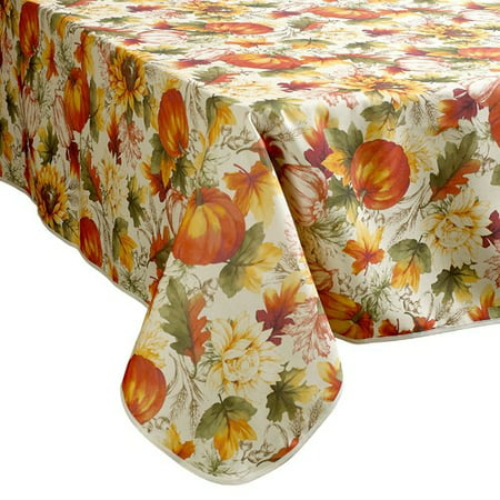 Violet Linen European Fall Harvest Pumpkins and Autumn Leaves Printed Tablecloth
