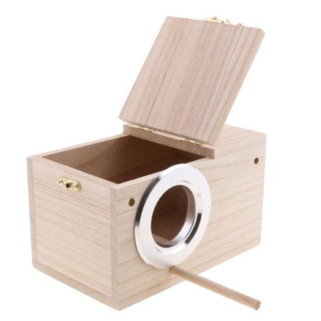 2Sizes Bird Breeding Wooden Nest Box Nesting Birdhouse Canary Finch Budgie Roost