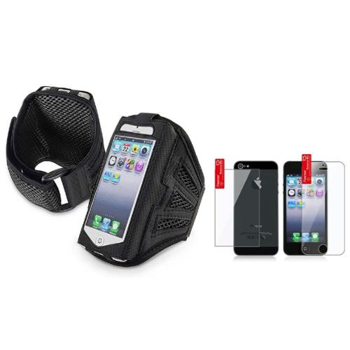 Insten Black/Black Sports Running Armband Gym Case for iPhone SE 5 5G 5s + 2-LCD Kit Front and Back protector