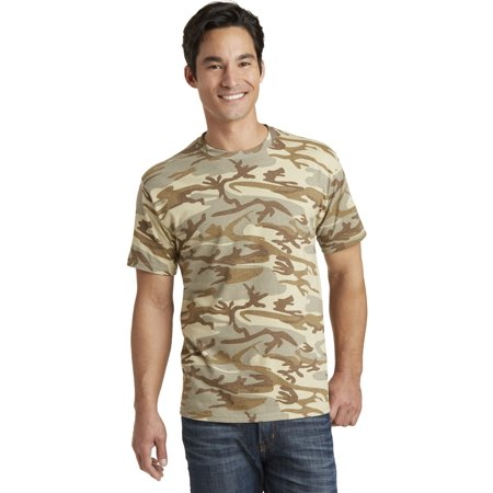 Port Company PC54C Core Cotton Camo Tee, Desert Camo,
