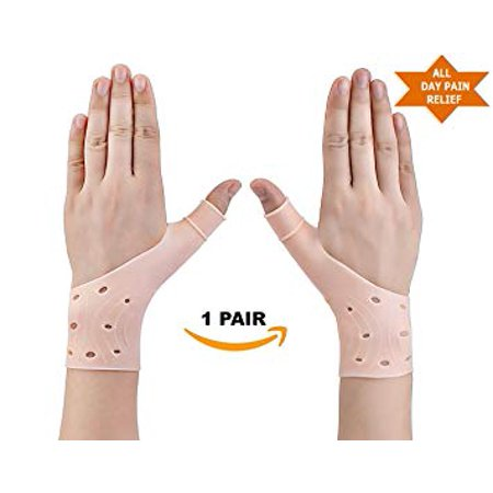 - 1 Pair Gel Wrist Thumb Brace Support - Wrist & Thumb Stabilizer Gloves Braces, Fast Relief from Carpal Tunnel, Rheumatism, Tenosynovitis, Tendonitis & Typing Pain, (1 Pair) Breathable and Lightweight