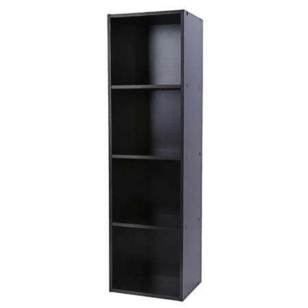Black Door Furniture (4 Shelf Bookcase Storage Bookshelf Wood Furniture Easy Assembly Book Shelving Black Color by VGEBY )