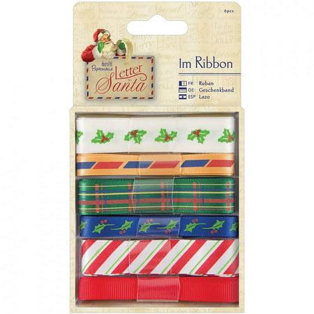 Papermania Letter To Santa Ribbon 6/pkg-1m Each - Ribbon Letters