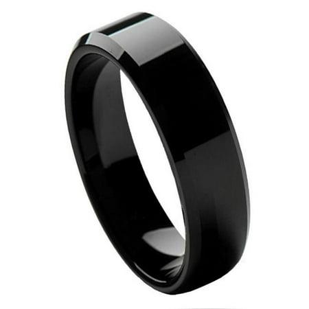 TK Rings 086TR-6mmx11.5 6 mm Flat High Polish Black IP Plate Beveled Edge Tungsten Ring - Size 11.5 - image 1 de 1