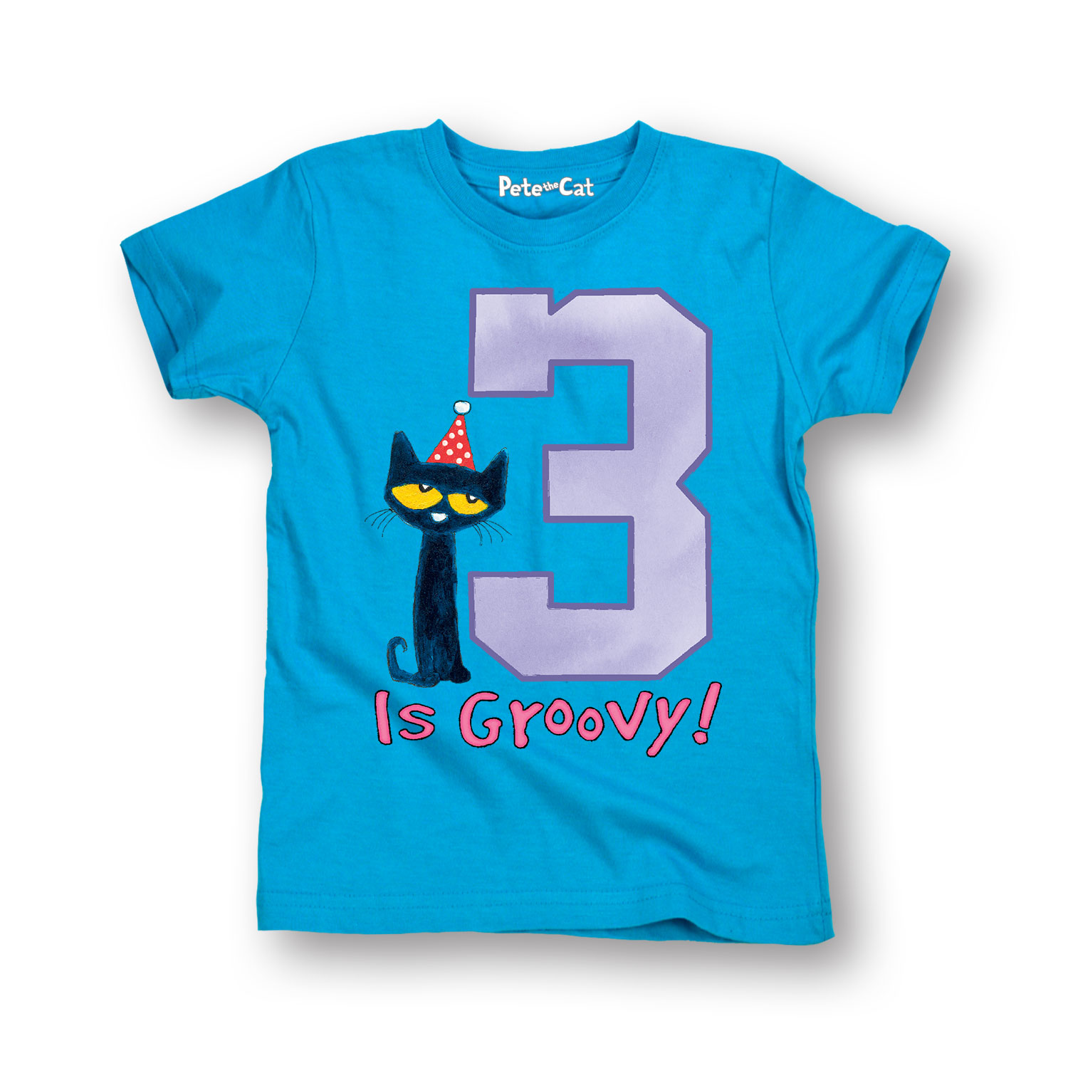 Pete The Cat 3Rd Birthday Girls - Toddler Short Sleeve Tee