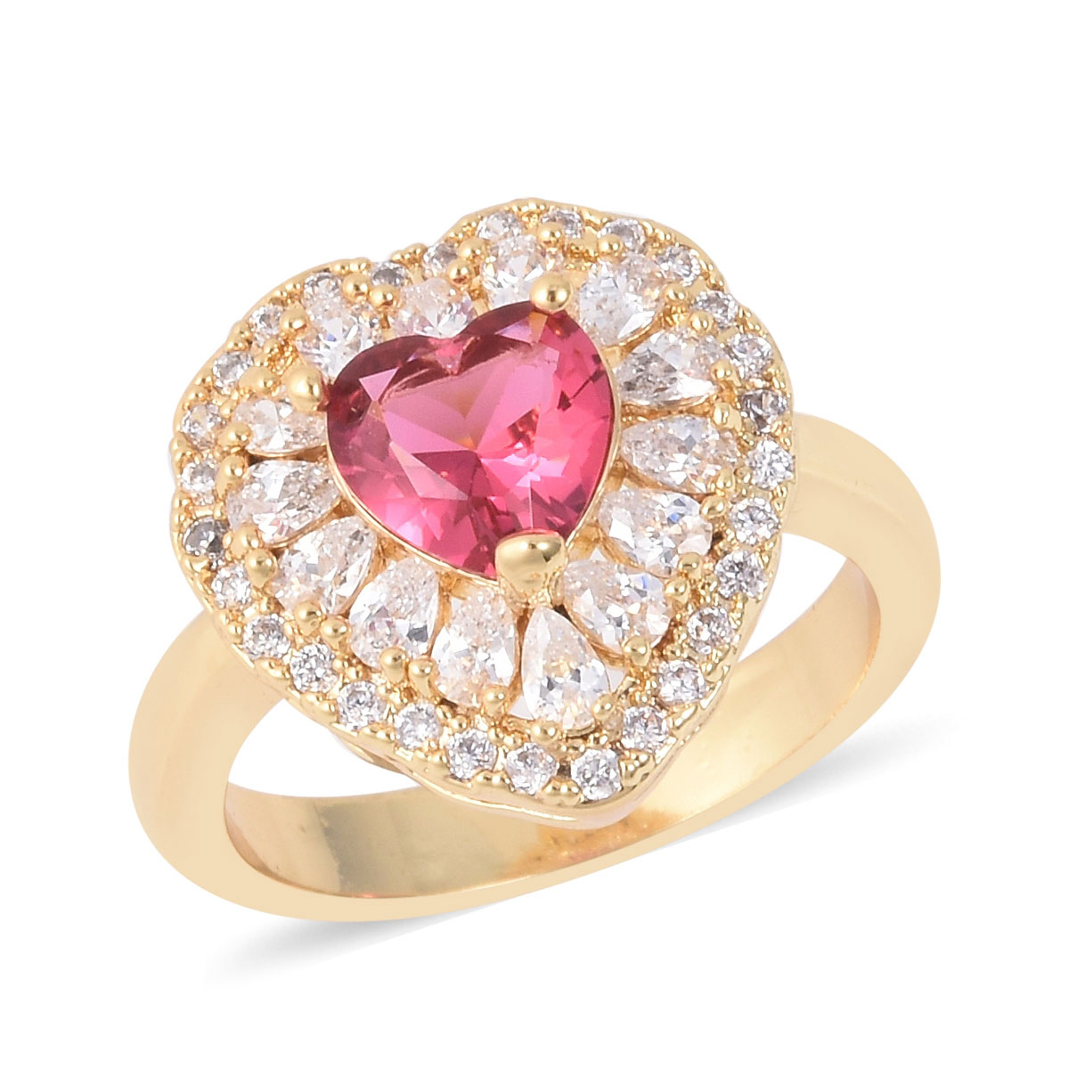 Shop LC Delivering Joy Heart Ring Heart White Cubic Zirconia CZ Silvertone Jewelry for Women Ct 4.8