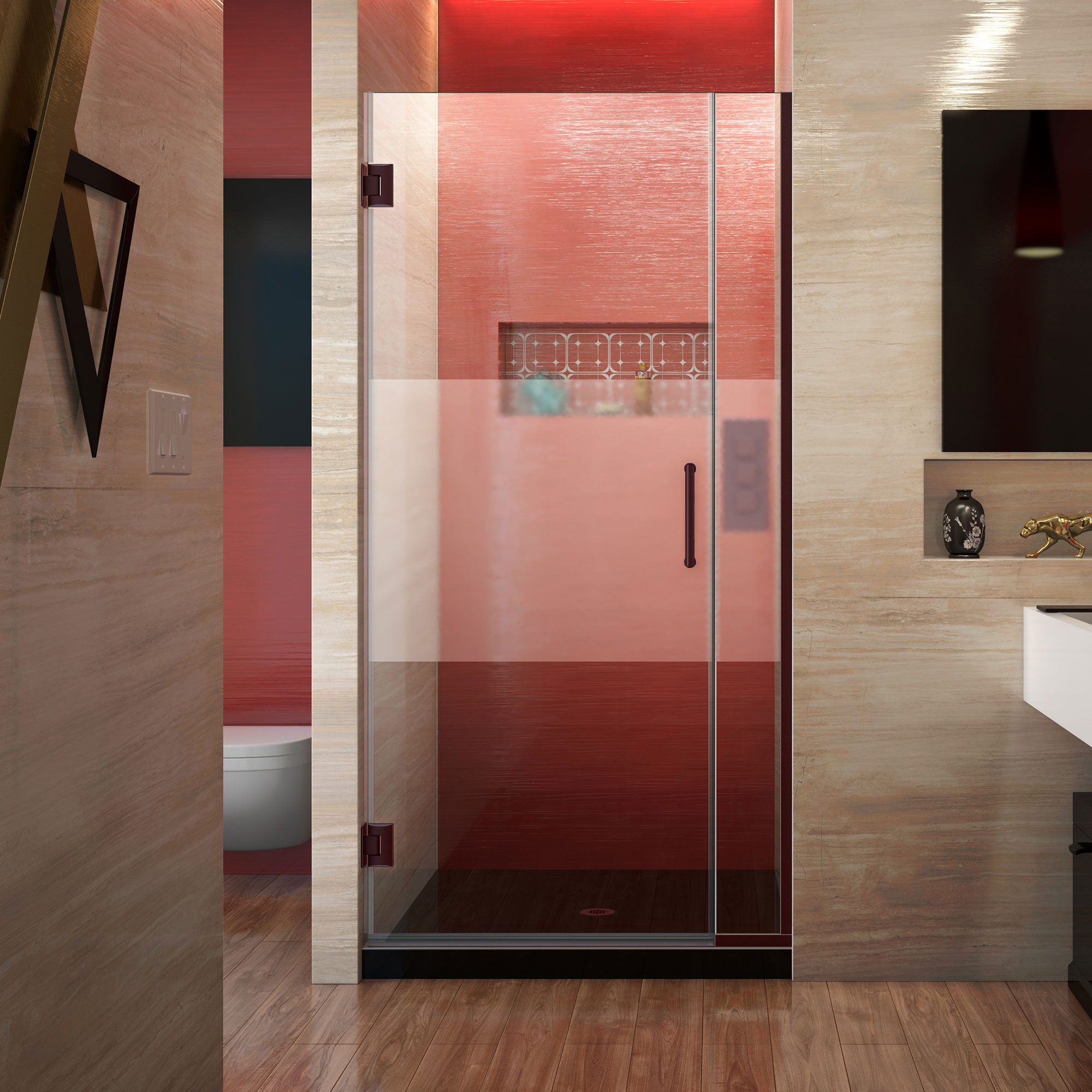 DreamLine Unidoor Plus 34-34 1/2 in. W x 72 in. H Frameless Hinged Shower Door, Frosted Band, Oil Rubbed Bronze