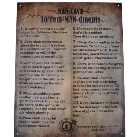 10 Com-MAN-dments Tin Man Cave funny home bar workshop garage room metal sign ()