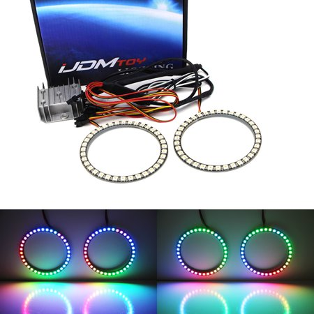 iJDMTOY (2) Universal 80mm RGBW Color Shifting Flashing 60-SMD LED Angel Eye Halo Ring Lighting Kit w/ RF Wireless Remote Control For Headlight