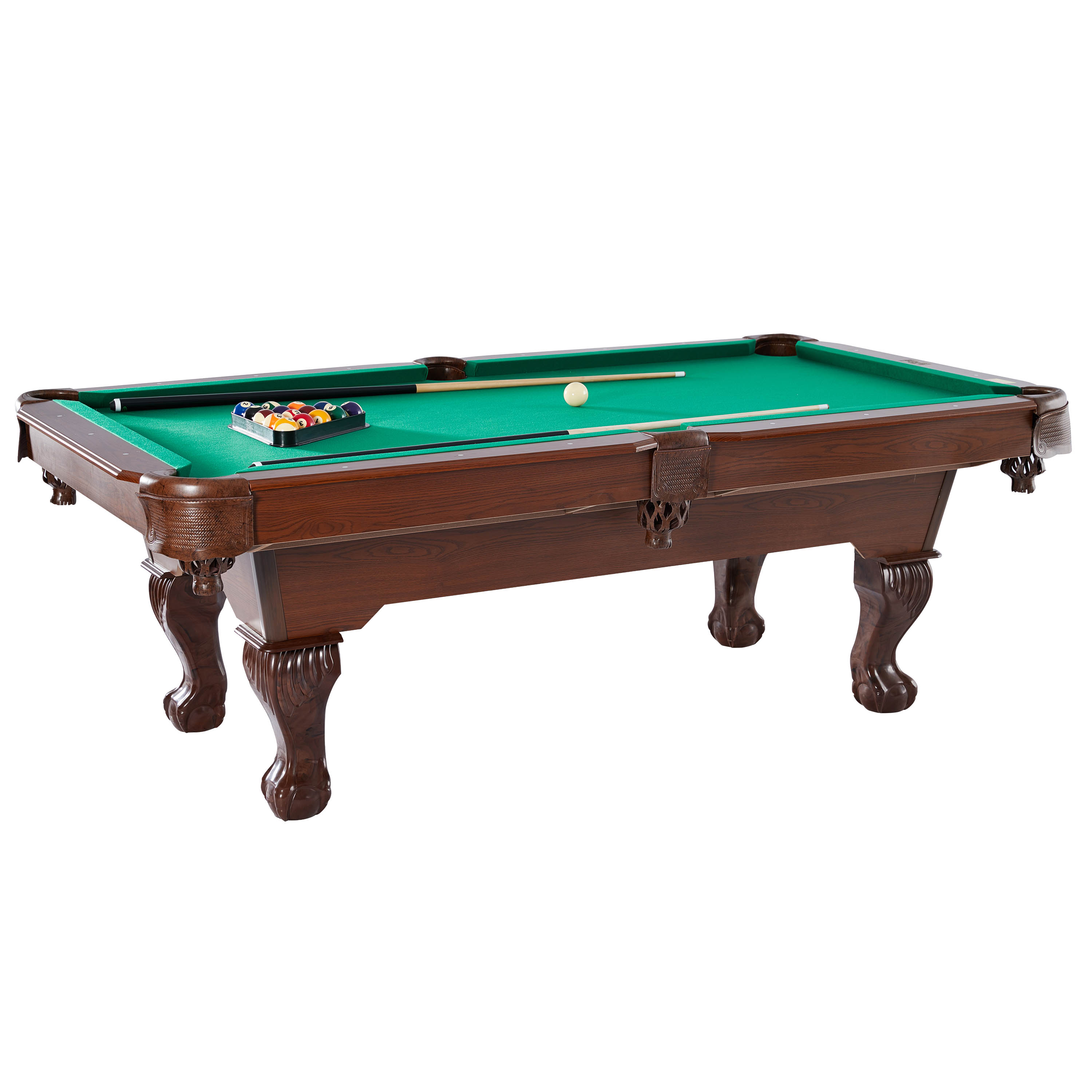 Barrington Glenview 90'' Pool Table, Includes billiard balls, 2 cue sticks, a triangle rack, 2 chalk and a brush, Brown/Green