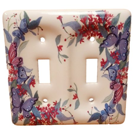 Leviton Butterfly Pattern 2-Gang Porcelain Switch Cover Toggle Wallplate (Butterfly Light Switch)