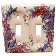 Leviton Butterfly Pattern 2-Gang Porcelain Switch Cover Toggle Wallplate 89509-FLY