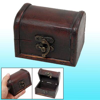 Metal Buckle Wooden Antique Jewelry Organizer Storage Box ()