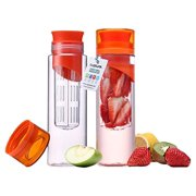 Cupture Fruit Infuser Water Bottle Made of Unbreakable Eastman Tritan, 24 oz, 2 Pack
