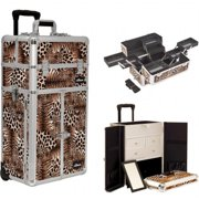 Sunrise I3665LPBR Leopard Printing Texture Professional Makeup French Door Opening Case with Split Drawers