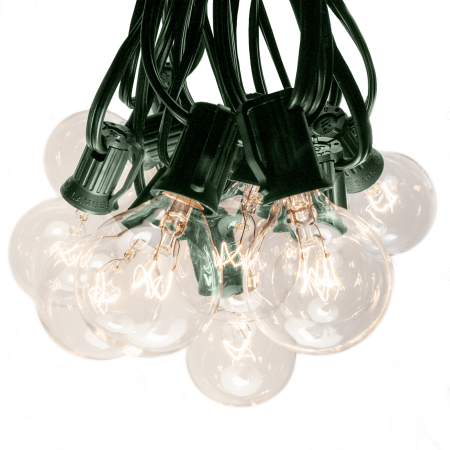 100 Foot Outdoor Patio String Lights - G40 Clear Bulbs - Green Wire (Green String Light)