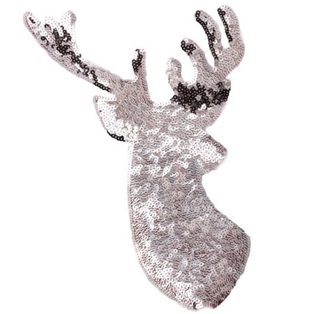 AkoaDa Christmas Elk Sequin Applique Embroidery Iron On Patches Fabric Stickers Useful ()