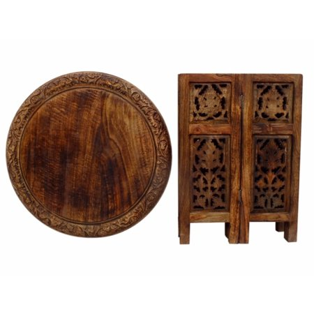 The Curated Nomad  Grote Brown Hand-carved Wood Folding Accent Table ()