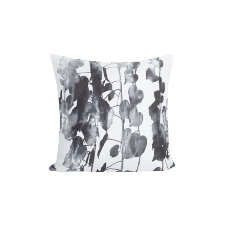 Single (1) 100% Cotton Gray and White Euro/Square Size Pillow Sham Branch and Leaf Design 26in x 26in