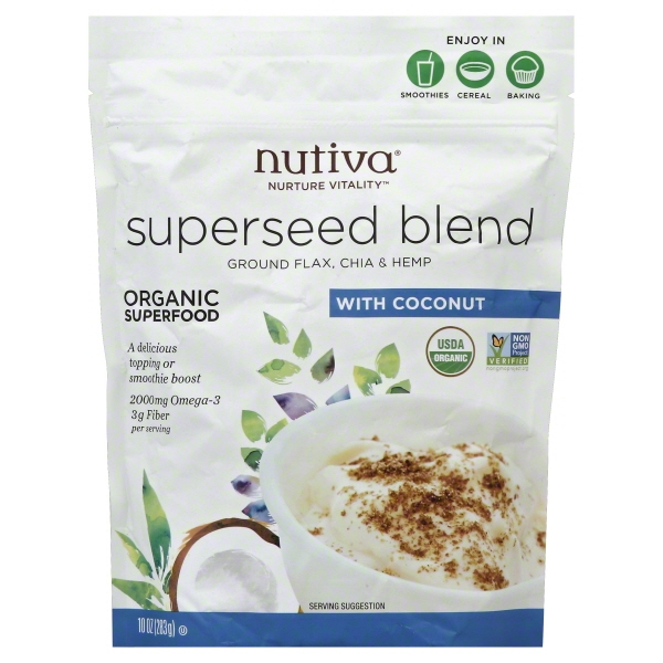 Nutiva Organic, non-GMO, Sustainably Farmed Chia, Flax, and Hemp Superseed Blend, 10-Ounces