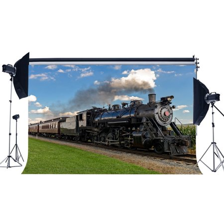 HelloDecor Polyster 7x5ft Photography Backdrop Locomotive Vintage Steam Train Railroad Tracks Grass Field Bule Sky White Cloud Travel Backdrops for Baby Kid Lover Wedding Background Photo Studio