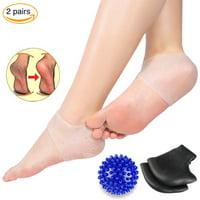Gel Heel Protectors Moisturizing Socks - Yosoo Heel Pain Relief Protectors 2 Pairs Heel Cups Plantar Fasciitis Inserts Gel Heel Pads Cushion Great for Men and Women(Foot Massage Ball Included)