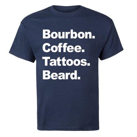 Bourbon Coffee Tattoos Beard Funny Novelty Mens Short Sleeve Tee Shirt