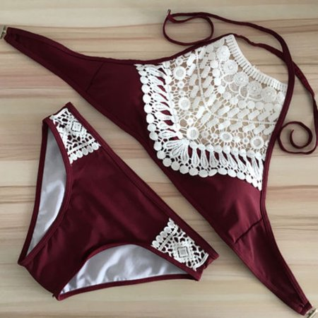 Womens Hollow Out Patchwork Swimsuit Two Pieces Bathing Suit Lace Up High Neck Set Padding Bikini Swimwear (Out 2 Piece Set)