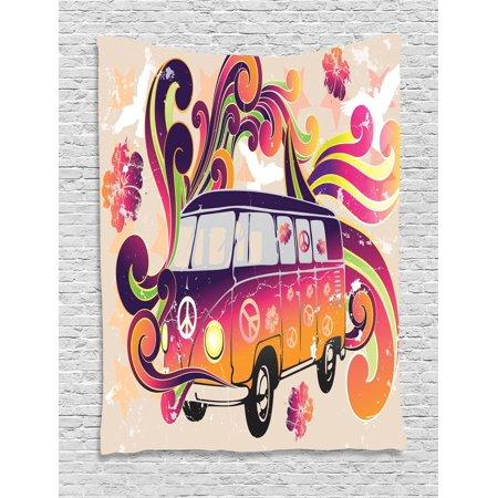 - Boho Tapestry, Peace Symbol Van Funny Minivan Explorer Caravan Paisley Antiqued Look Groovy Retro, Wall Hanging for Bedroom Living Room Dorm Decor, Multicolor, by Ambesonne