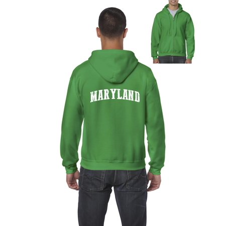 J_H_I MD Maryland Map Baltimore Flag Terrapins Terps Home University of Maryland  Mens Hoodies Zip Up Sweater
