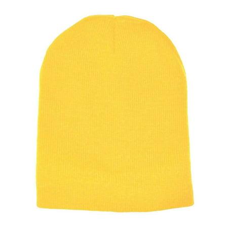 Yellow Plain Short Beanie Skull Cap Ski Skate Hat-8