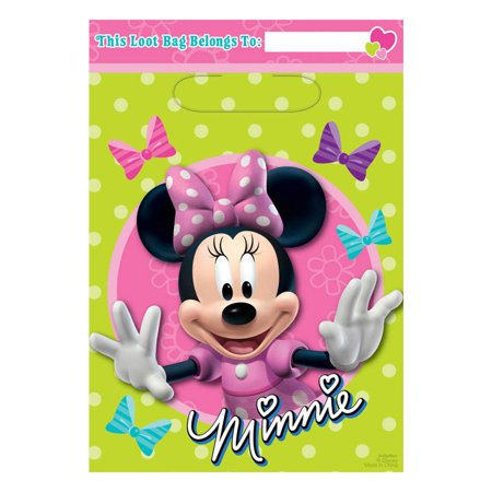 Minnie Mouse Lootbags (8 Pack) - Party Supplies (Minnie Mouse Birthday Giveaways)