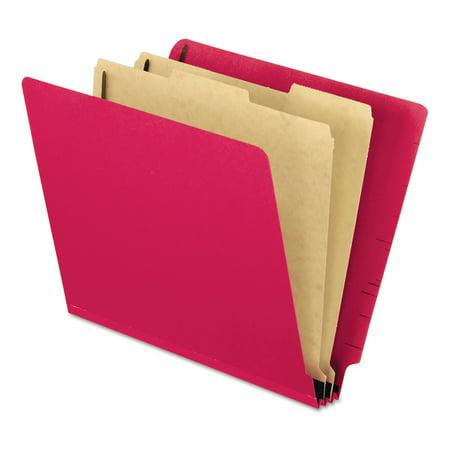 Pendaflex Pressboard End Tab Classification Folders, Letter, 2 Dividers, Red, 10/Box -PFX23216