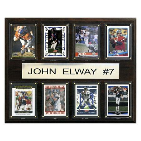 C&I Collectables NFL 12x15 John Elway Denver Broncos 8-Card Plaque Denver Broncos Parking Sign
