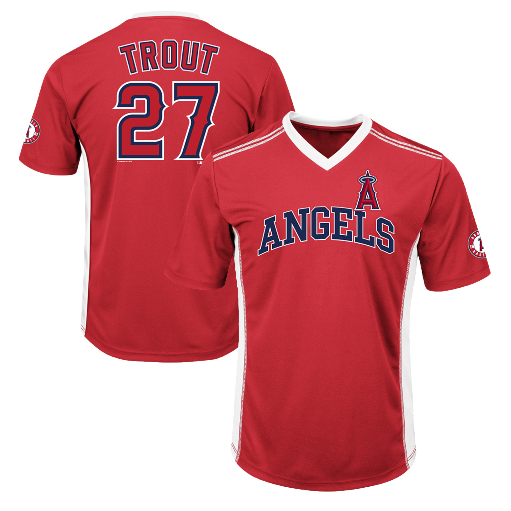 Men's Majestic Mike Trout Red Los Angeles Angels Player Name & Number Cool Base V-Neck T-Shirt by MAJESTIC LSG