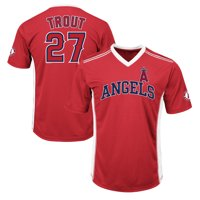 Men's Majestic Mike Trout Red Los Angeles Angels Player Name & Number Cool Base V-Neck T-Shirt