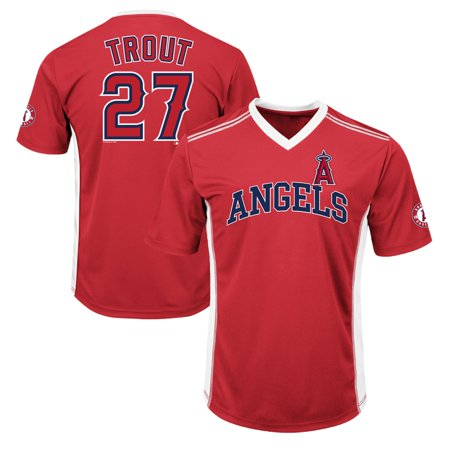 Men's Majestic Mike Trout Red Los Angeles Angels Player Name & Number Cool Base V-Neck T-Shirt Majestic Mens Cool Base