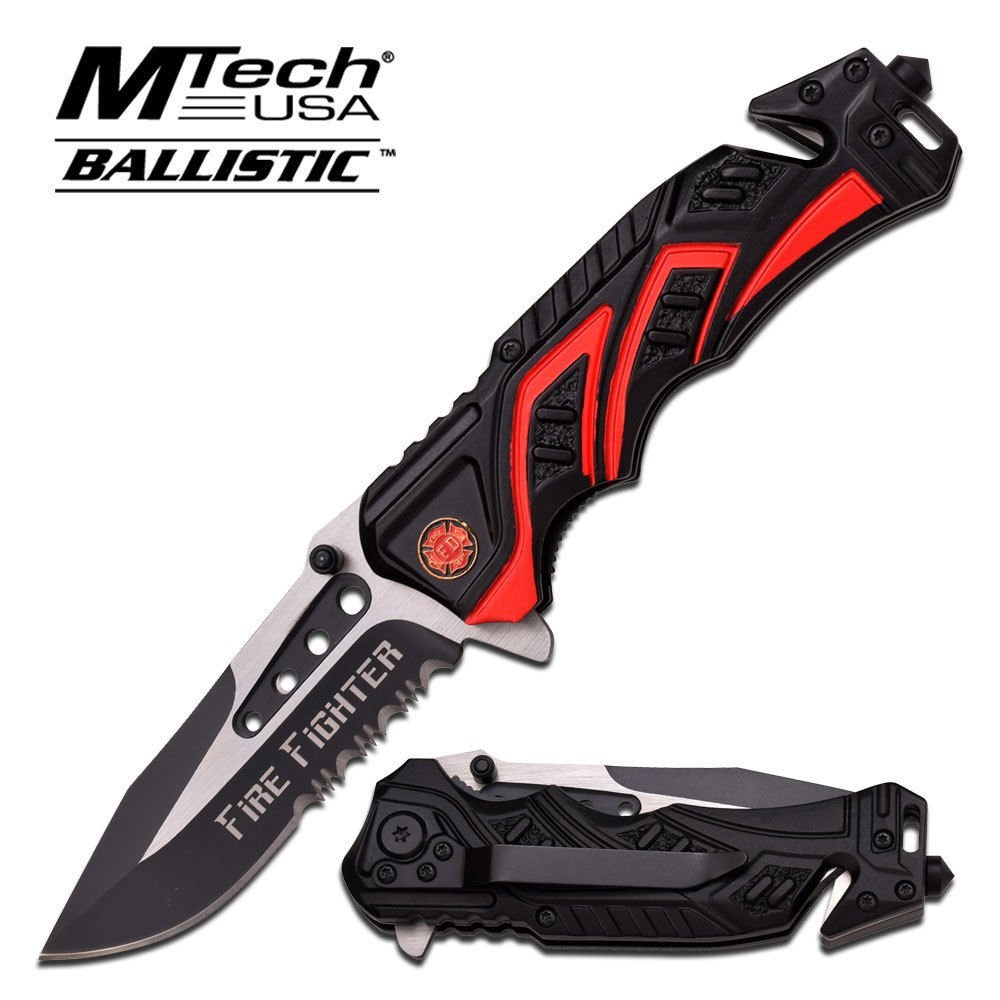 """Brand New 8"""" Fire Fighter Red SPRING ASSISTED FOLDING KNIFE Blade pocket open switch- Firefighter Rescue Pocket Knife hunting knives,... by"""