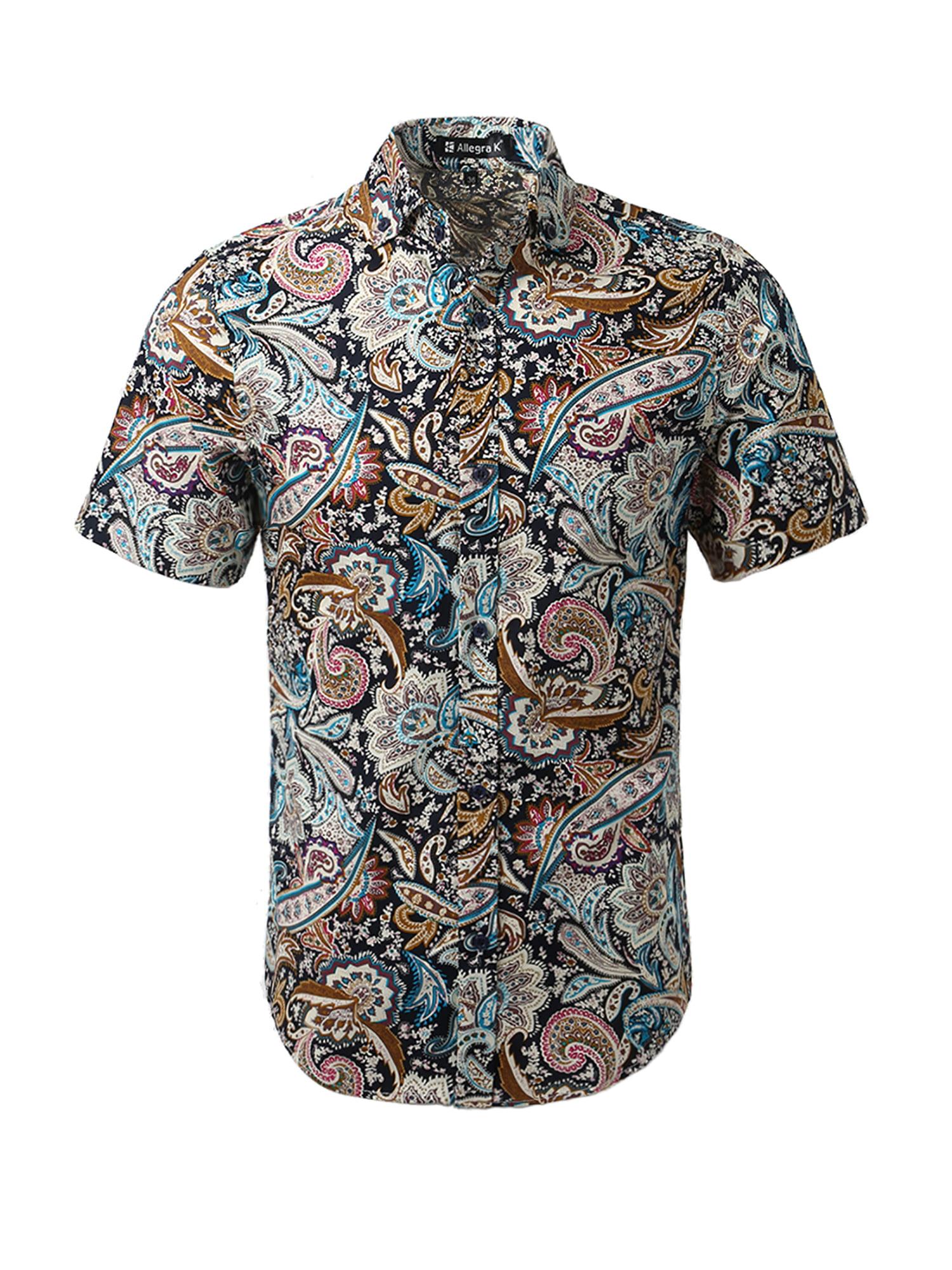 Unique Bargains Men's Summer Pineapple Short Sleeve Button Down Hawaiian Shirt