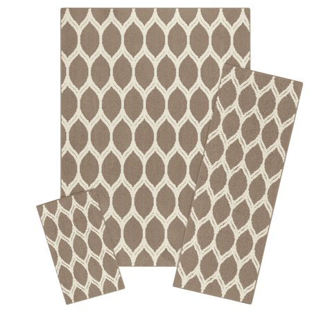 Mainstays Sheridan Ogee High Low Loop Textured 3-Piece Accent Rug Set ()