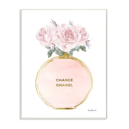 The Stupell Home Decor Collection Pink and Gold Round Perfume Bottle with Roses Wall Plaque Art, 10 x 0.5 x 15