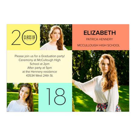 Personalized Graduation Invitation - Color Block Mosaic - 5 x 7 Flat](Block Party Invitation)