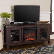 """Walker Edison Fireplace TV Stand for TVs up to 60"""", Espresso"""