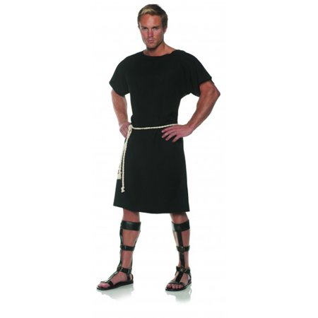 Roman Halloween Costumes Men (Black Toga Mens Adult Greek Roman Soldier Halloween)