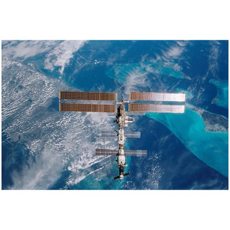 International Space Station (Over Miami) Art Poster Print Poster - 19x13 - Halloween Space Miami